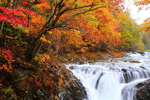 紅葉に染まる三階滝