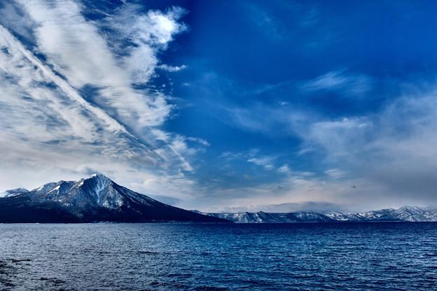 厳冬の支笏湖畔より風不死岳を望む