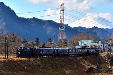 浅間山とC61 20牽引12系客車SLぐんまよこかわ号