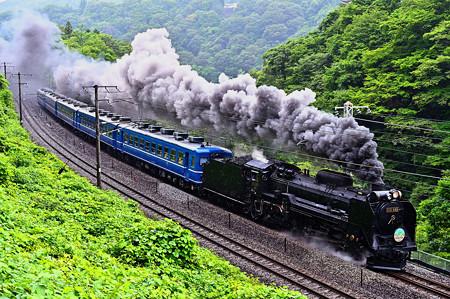 雨の諏訪狭を行くD51 498