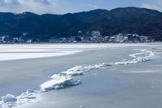 写真: 諏訪湖の御神渡り