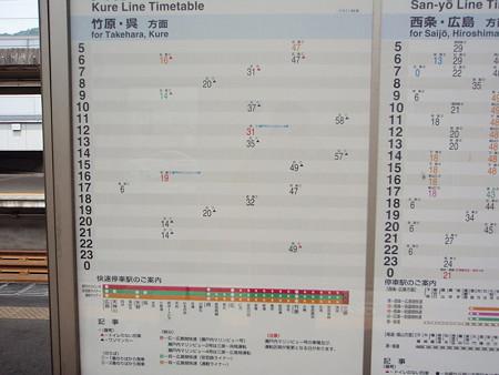 呉線時刻表(三原駅)