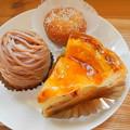 Photos: 2018.09.28 今日食べたお菓子(永井製菓:アップルパイ、モンブラン、あんドーナツ)