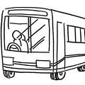 大型バスに乗ってます