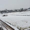 スーパーの前の冬景色