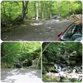 写真: 駐車スペース&目の前は道志川