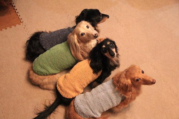 ママの手編み似合ってるかな