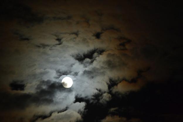 雲間からのビーバームーン