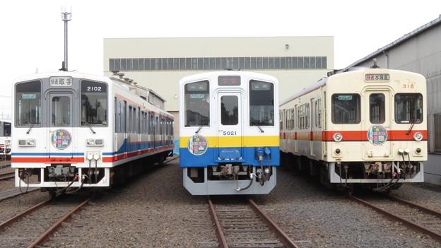 関鉄キハ2102・キハ5021・キハ318 3並び