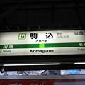 Photos: #JY10 駒込駅 駅名標【外回り】