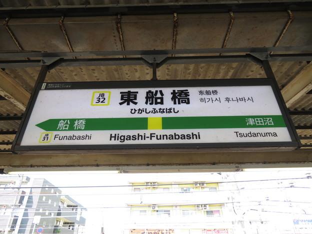 #JB32 東船橋駅 駅名標【西行】