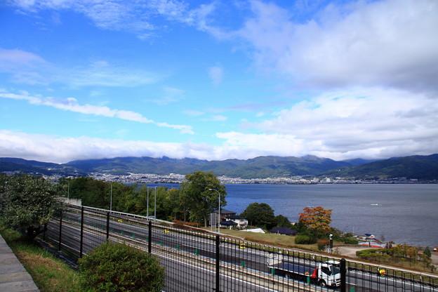 諏訪湖と高速道路
