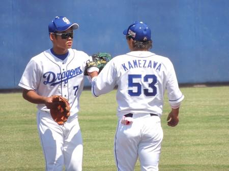 亀澤恭平選手と根尾昂選手。