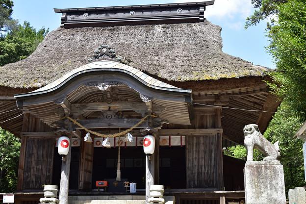 写真: 萱葺きの拝殿