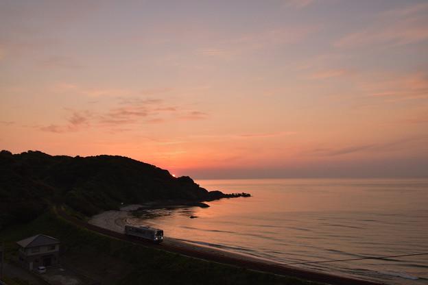 夕日と山陰本線