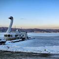 写真: 諏訪湖の早朝