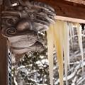 氷柱と獅子の彫り物