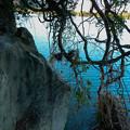 川岸の摩崖仏の先