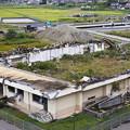 津波に鉄骨上屋を持っていかれた屋内運動場