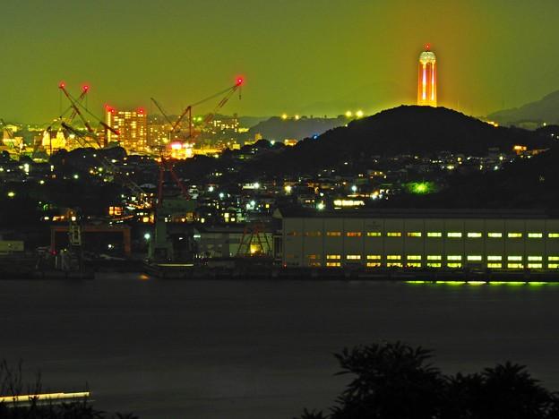 手向山公園から下関 海峡ゆめタワーを臨む