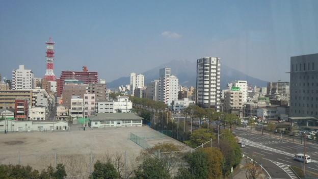 病室の窓から桜島 市立病院 鹿児島市