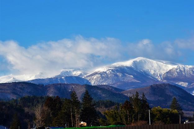 安達太良連峰も雪に~