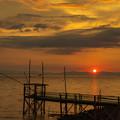 くもで網櫓と有明海夕景