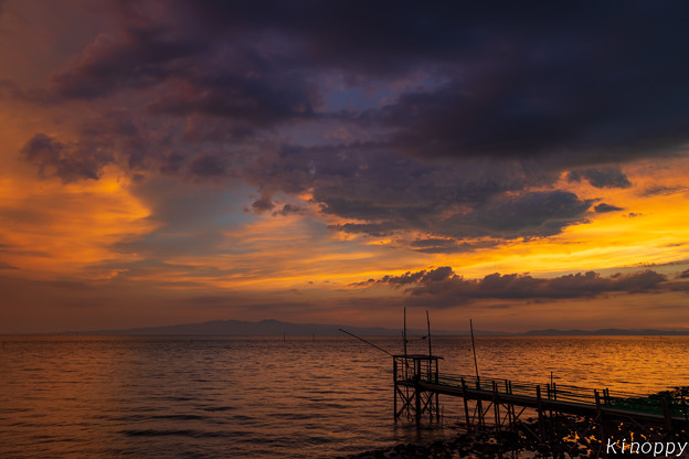 Photos: くもで網櫓と有明海夕景 2