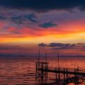 くもで網櫓と有明海夕景 3