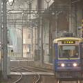 写真: 朝もやに現る電車