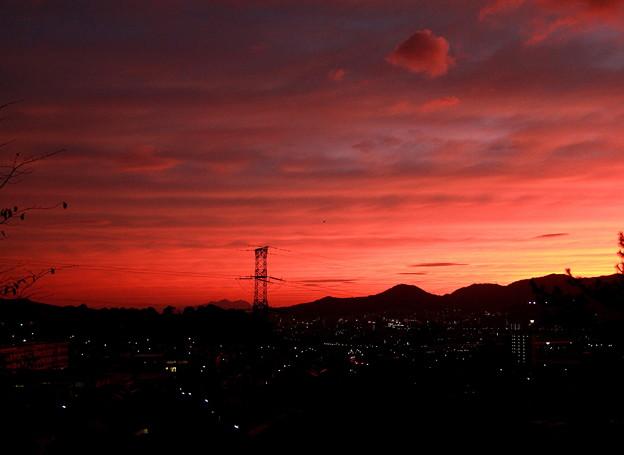 Photos: 灯と夕日