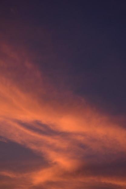 紺碧と 紅緋に染まる 夏の暮れ