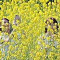 黄色いスマホ女子