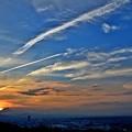 写真: Heat wave sun set
