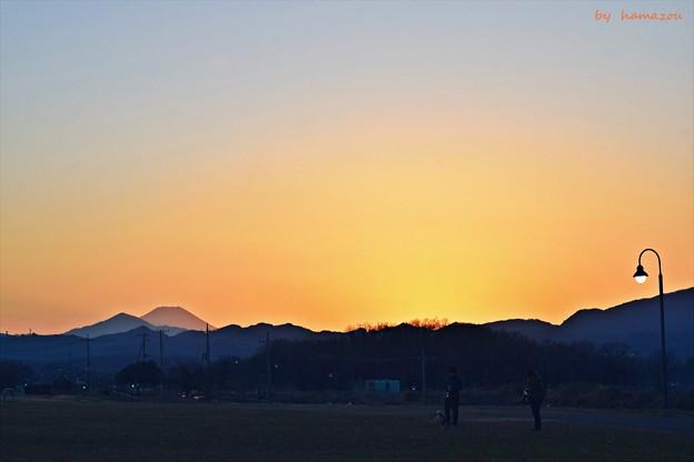 夕焼け小焼けの富士