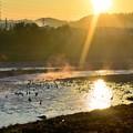 朝陽の河川敷