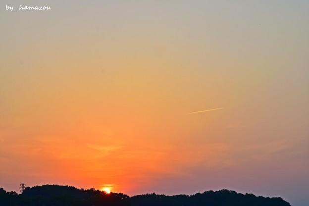 落日の飛行機雲
