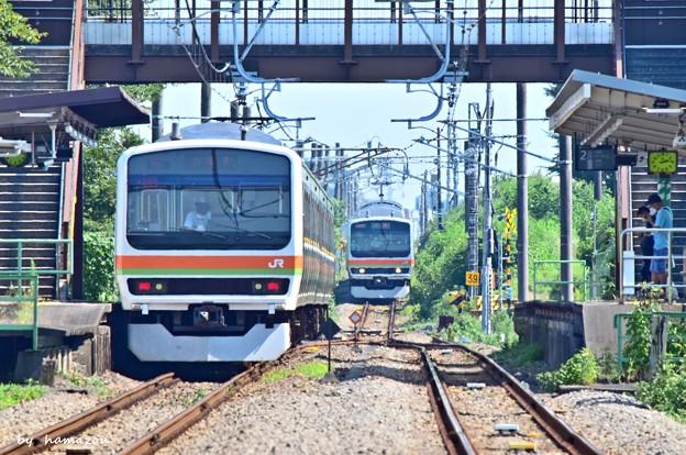 猛暑日の列車交換