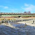 正月休みの河川敷