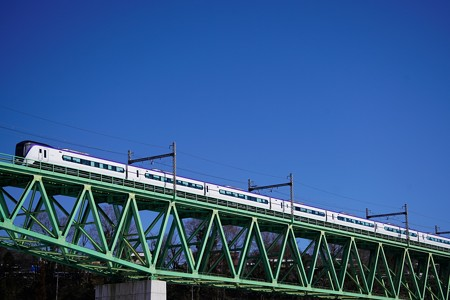 初対面のE353系@新桂川橋梁