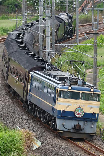 9136レ ELレトロ碓氷 EF65-501+旧客5B+D51-498@岩井路線橋