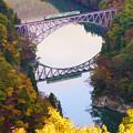 写真: 紅葉の只見川第一橋梁 キハ40系水鏡3