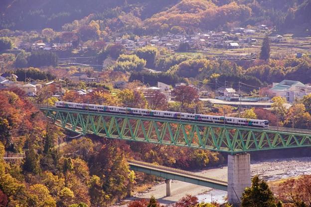 E257系特急あずさ@新桂川橋梁俯瞰1