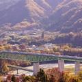 Photos: E353系スーパーあずさ@新桂川橋梁俯瞰