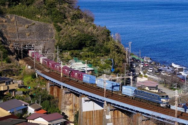 1097レ EF66-27+コキ@石橋鉄橋1