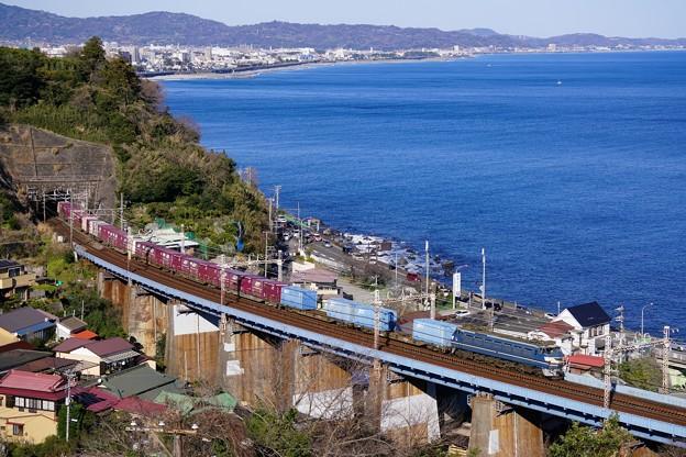1097レ EF66-27+コキ@石橋鉄橋2