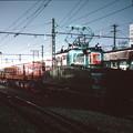 発車を待つレール輸送列車