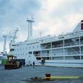 八重根港にて荷役中の「さるびあ丸」