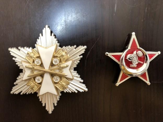 エスグラ製のワシ勲章の星形土台付きとトルコガリポリスター