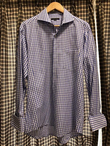 オジエのダブルカフスのワイシャツのブルーのからみ織り